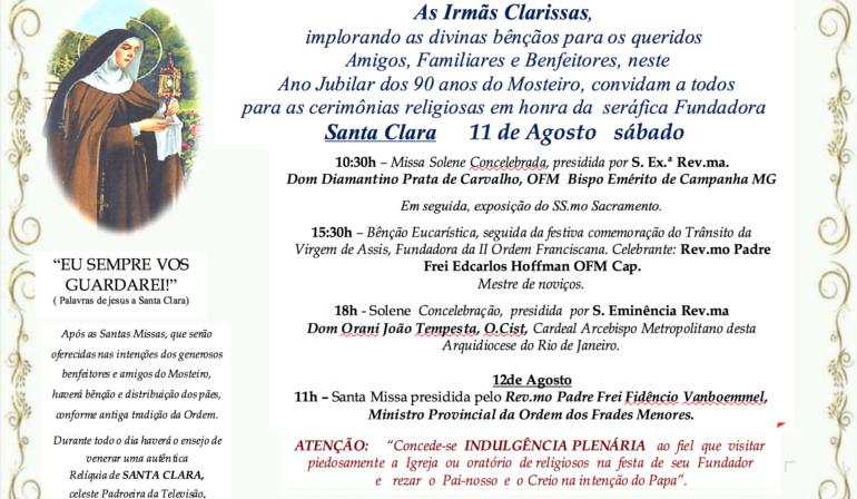 Convite da Solenidade da Mãe Santa Clara